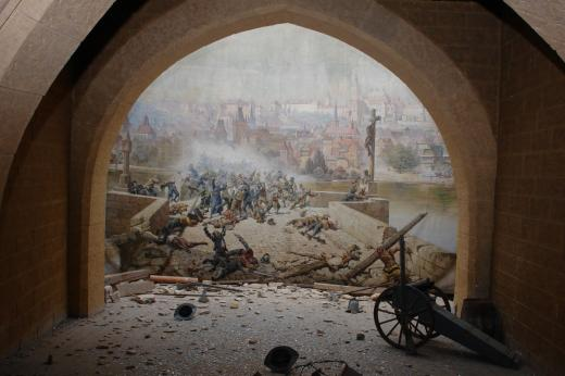 Diorama of the battle of the Praguers against the Swedes at Charles Bridge in 1648
