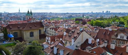 In Hradčanské Square, there is a spectacular views of the city