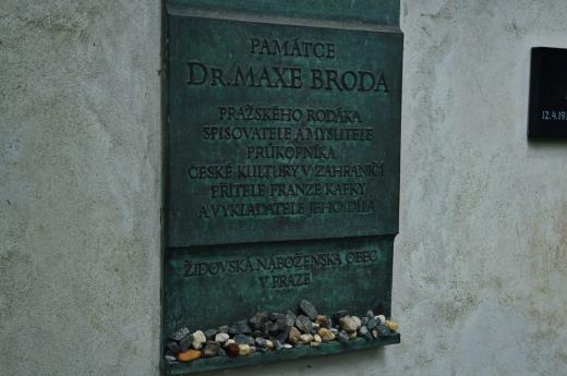 The commemorative plate of Max Brod - Kafka's friend and significant promoter of his work