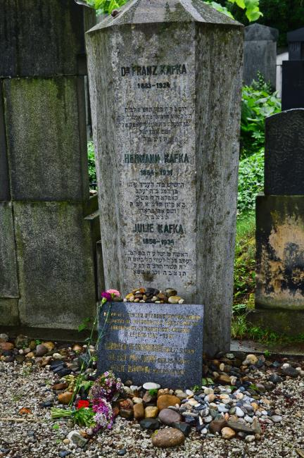 The grave of Franz Kafka and his parents (tombstone number 21 - 14 - 21)